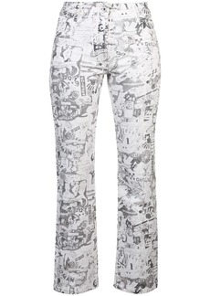 Off-White cartoon-printed straight jeans