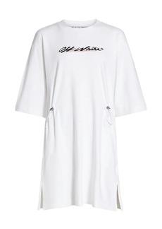 Off-White New Script Logo Coulisse T-Shirt Dress