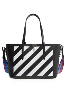 Off-White Binder Clip Diagonal Stripe Leather Shopper