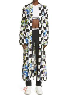 Off-White Check Satin Long Sleeve Wrap Dress