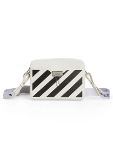 Off-White Diagonal Stripe Leather Convertible Camera Crossbody Bag