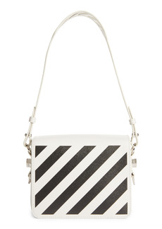 Off-White Diagonal Stripe Saffiano Leather Flap Bag