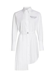 Off-White Popeline Plissé Belted Shirtdress