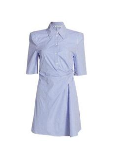 Off-White Stripe Short-Sleeve Shirtdress