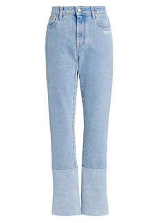 Off-White Two-Tone Straight-Leg Jeans