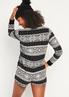Old Navy Cozy Patterned Micro Performance Fleece Romper Pajamas for Women