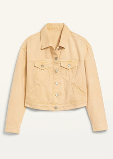 Old Navy Cropped Pop-Color Jean Jacket for Women