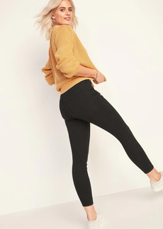 Old Navy Extra High-Waisted Button-Fly Rockstar 360° Stretch Super Skinny Black Ankle Jeans for Women
