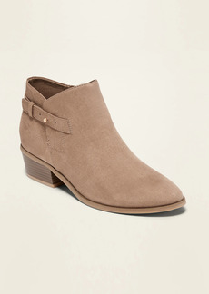 Old Navy Faux-Suede Side-Buckle Ankle Booties for Women