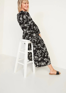 Old Navy Floral-Print Tiered-Hem Midi Swing Dress for Women