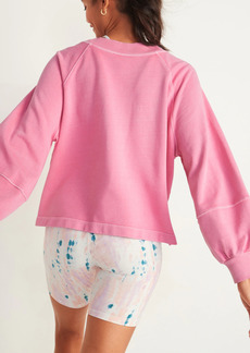 Old Navy Garment-Dyed Blouson-Sleeve Sweatshirt for Women