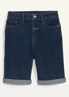 Old Navy High-Waisted Dark-Wash Cuffed Bermuda Jean Shorts for Women -- 9-inch inseam