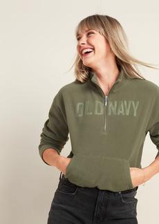 Old Navy Logo-Graphic Micro Performance Fleece Half-Zip Sweatshirt for Women