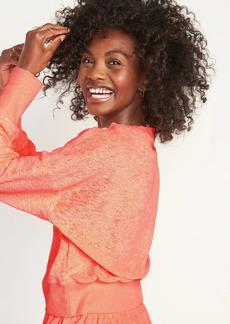 Old Navy Loose Cropped Long-Sleeve Performance Slub-Knit Terry Sweatshirt for Women