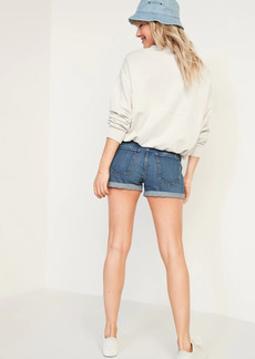 Old Navy Mid-Rise Boyfriend Ripped Medium-Wash Jean Shorts for Women -- 3-inch inseam