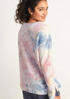 Old Navy Oversized Tie-Dyed Henley Lounge Top for Women