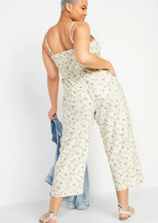 Old Navy Sleeveless Linen-Blend Floral-Print Jumpsuit for Women