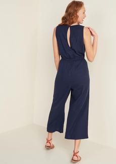 Old Navy Tassel-Tie Wide-Leg Linen-Blend Jumpsuit for Women