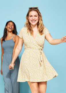 Old Navy Waist-Defined Tie-Belt Wrap Dress for Women