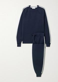Olivia von Halle Missy Paris Striped Silk-blend Sweatshirt And Track Pants Set