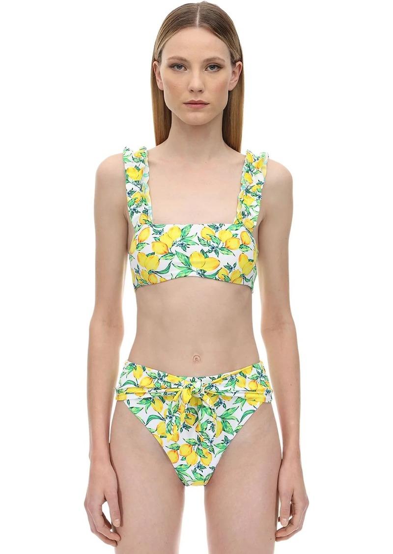 WeWoreWhat Como Lemons Print Bikini Top