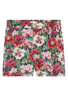 Onia Floral Flat-Front Cotton Shorts
