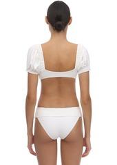 WeWoreWhat Moe Bikini Top With Short Sleeves