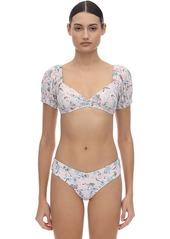 WeWoreWhat Moe Floral Bikini Top W/ Short Sleeves