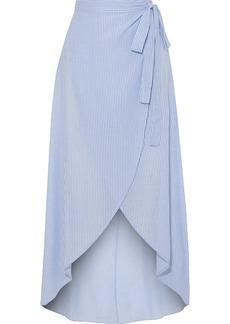 Onia Woman Amanda Striped Cotton-voile Wrap Skirt Light Blue