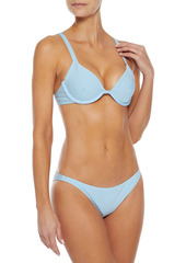 Onia Woman Ana Striped Stretch-seersucker Bikini Top Light Blue