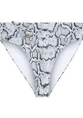 Onia Woman Anais Belted Snake-print High-rise Bikini Briefs Animal Print