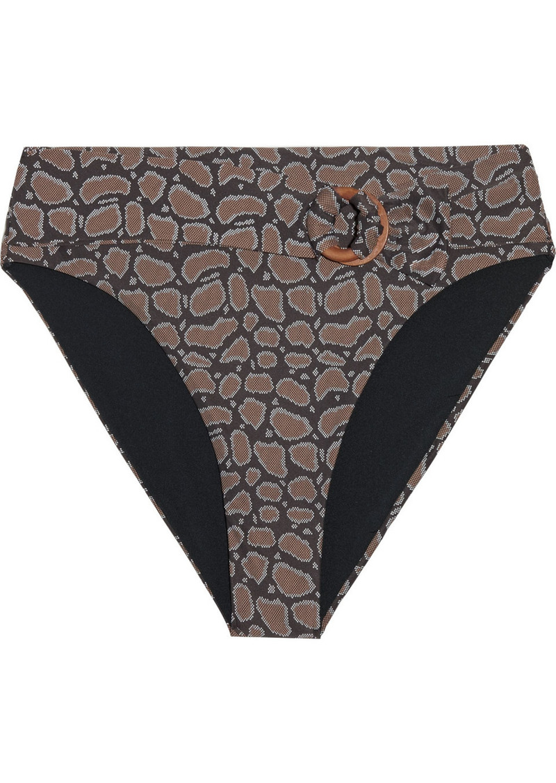 Onia Woman Anais Belted Snake-print Mid-rise Bikini Briefs Chocolate