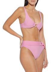 Onia Woman Anais Belted Striped Stretch-seersucker High-rise Bikini Briefs Fuchsia