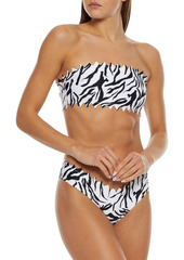 Onia Woman Astrid Laser-cut Zebra-print Low-rise Bikini Briefs White