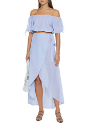 Onia Woman Colette Cropped Off-the-shoulder Striped Cotton-gauze Top Light Blue