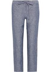 Onia Woman Cory Mélange Linen Straight-leg Pants Slate Blue
