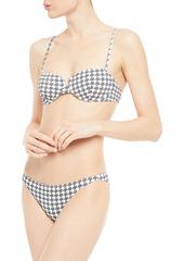 Onia Woman Dalia Houndstooth Textured Bikini Top Gray