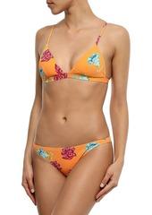 Onia Woman Danni Floral-print Ribbed Triangle Bikini Top Orange