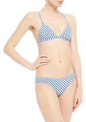 Onia Woman Danni Metallic Striped Triangle Bikini Top Blue