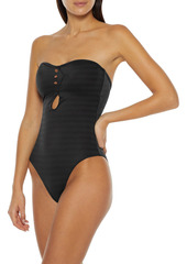 Onia Woman Edith Cutout Metallic Stretch-jacquard Bandeau Swimsuit Black