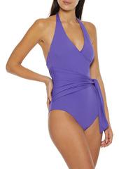 Onia Woman Elena Wrap-effect Halterneck Swimsuit Lavender