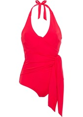 Onia Woman Elena Wrap-effect Halterneck Swimsuit Tomato Red