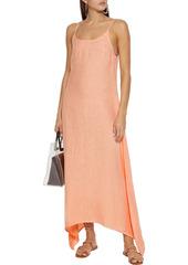 Onia Woman Elise Asymmetric Linen-gauze Maxi Slip Dress Peach