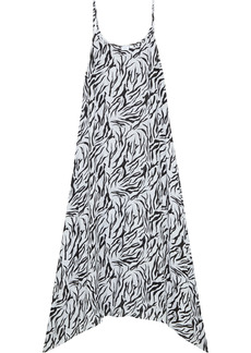 Onia Woman Elise Asymmetric Zebra-print Voile Maxi Dress Off-white