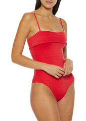 Onia Woman Fiona Cutout Stretch-jacquard Swimsuit Tomato Red