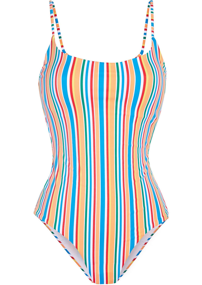 Onia Woman Gabriella Cutout Striped Swimsuit Multicolor