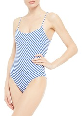 Onia Woman Gabriella Metallic Striped Swimsuit Blue