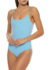 Onia Woman Gabriella Striped Seersucker Underwired Swimsuit Blue