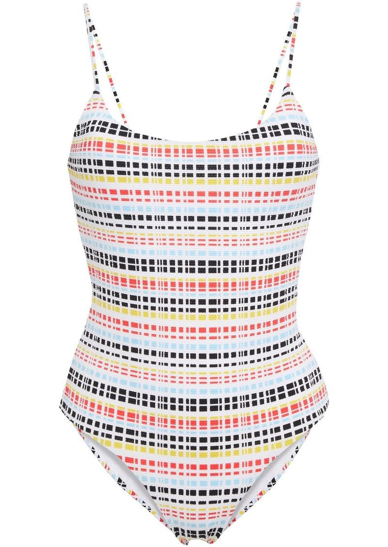 Onia Woman Gabriella Striped Stretch-piquè Swimsuit Multicolor