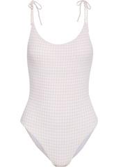 Onia Woman Ginny Gingham Seersucker Swimsuit Pastel Pink